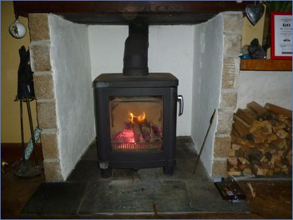 was an old open fireplace,now has a line